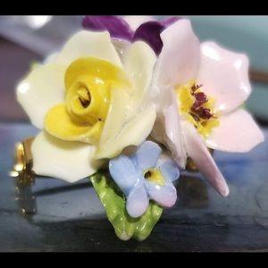 Vintage Coalport Fine Bone Chine Floral Brooch